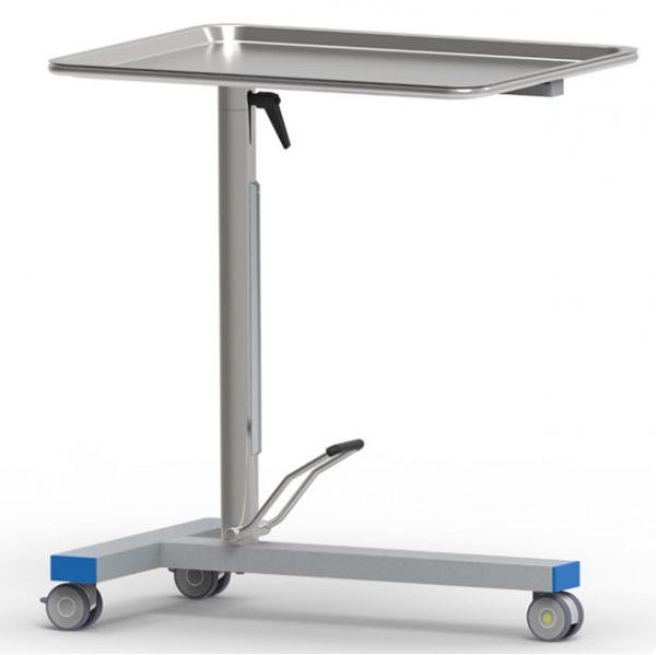 Tavolo Mayo porta ferri, con pompa a movimento singolo e piano girevole